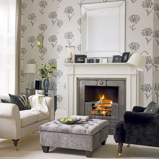 Charcoal and cream living room for Grey silver wallpaper living room