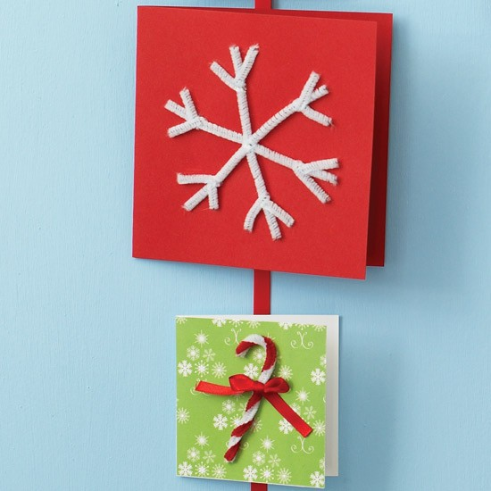 Bend pipe cleaners how to make your own christmas cards for Christmas card ideas to make at home