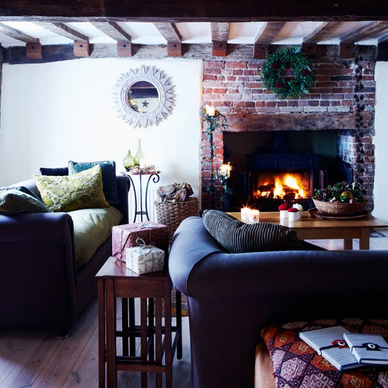 Traditional Living Room Christmas Country Cottage Decorating Ideas PHOTO GALLERY