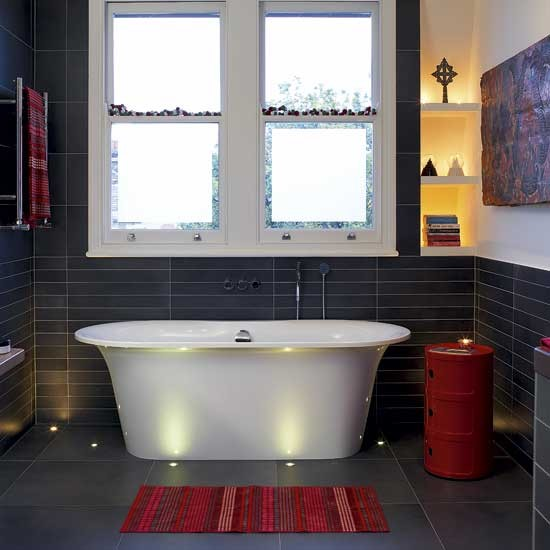 Red and black bathroom bathrooms design ideas for Bathroom designs red