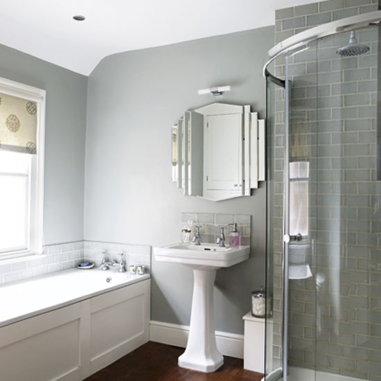 Grey bathroom bathrooms design ideas image for Grey and white bathroom decor