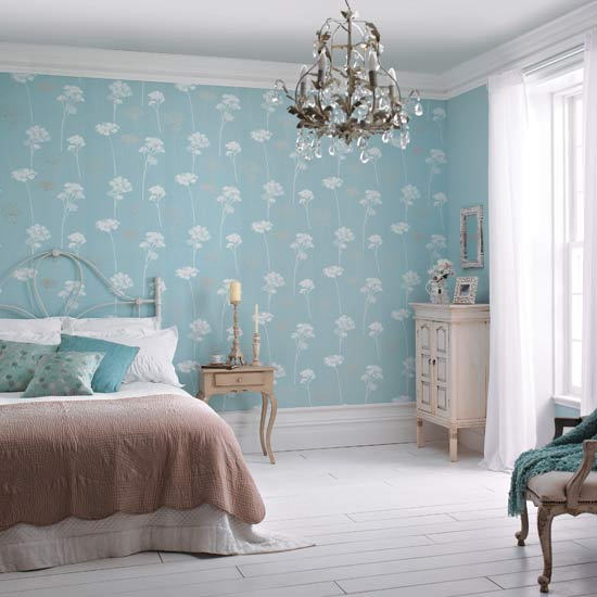 Dulux feature wallpaper - Blue bedroom wallpaper ideas ...