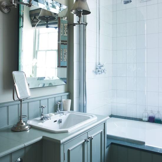 Blue vanity unit step inside a south london town house for Bathroom ideas london