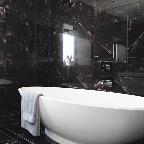 Black bathroom bathrooms decorating ideas for Bathroom ideas black tiles