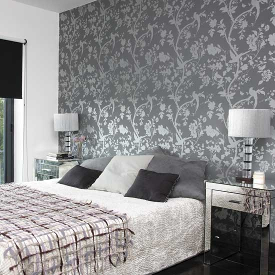 Bedroom with patterned wallpaper bedroom designs glass for Bed wallpaper design