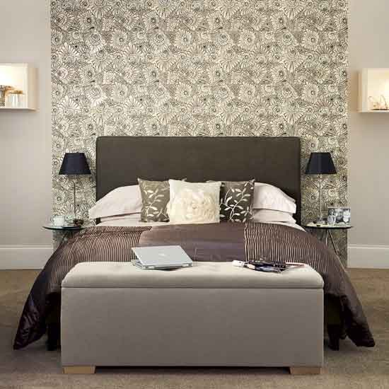 chic grey bedroom with floral feature wallpaper bedroom ideas