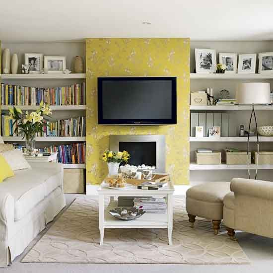 Yellow living room living rooms design ideas image for B q living room shelves
