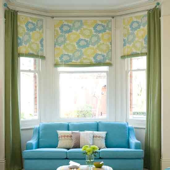 How to dress a bay window for Roman shades for bay window