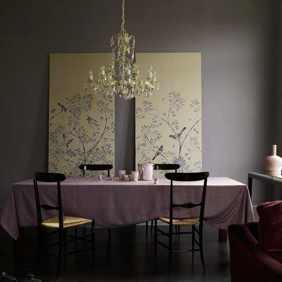 Dramatic purple dining room dining rooms design ideas for Pastel dining room ideas