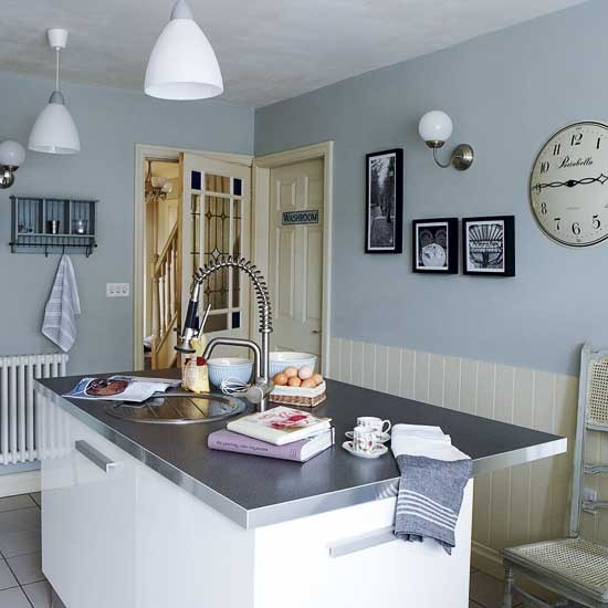 Pale blue kitchen - Light blue and white kitchen ...