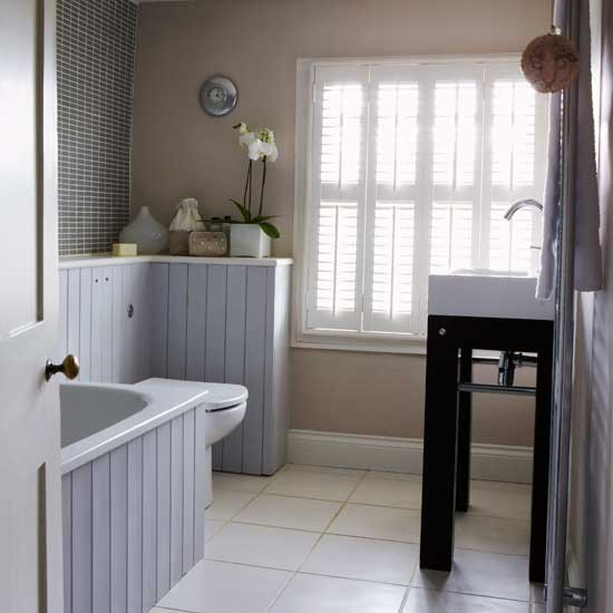Grey and beige bathroom bathrooms design ideas image for Grey bathroom decorating ideas