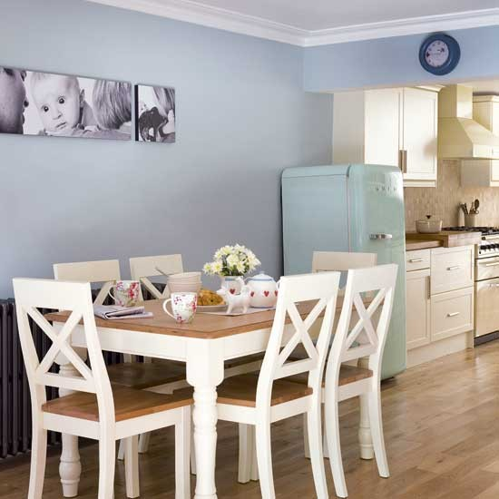 Pale blue kitchen diner kitchen extensions housetohome for Duck egg dining room ideas