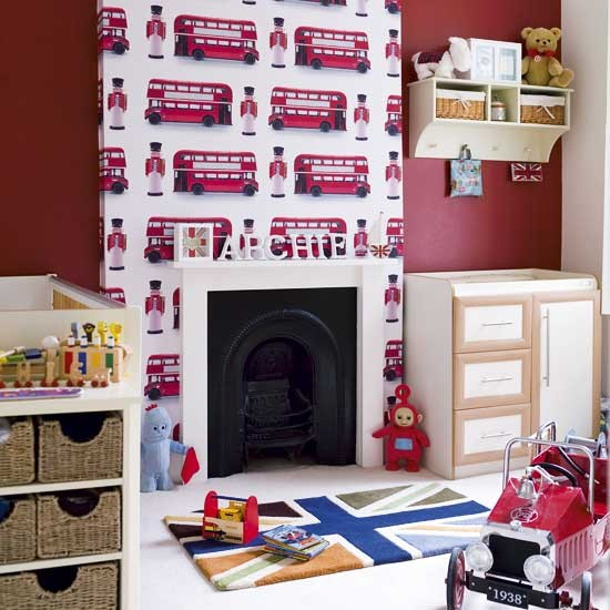 London themed boy 39 s bedroom modern designs wallpaper for Union jack bedroom ideas