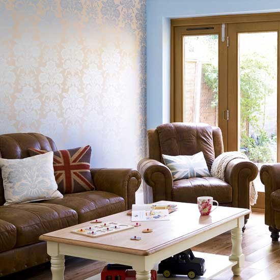 Blue living room brown furniture modern house - Brown and blue living room ...