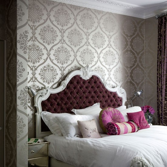 Metallic bedroom wallpaper | Bedroom wallpaper ideas | Bedroom decorating ideas | PHOTO GALLERY | Housetohome.co.uk