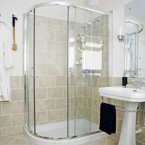 Bathroom with corner shower shower rooms image B q bathroom design service