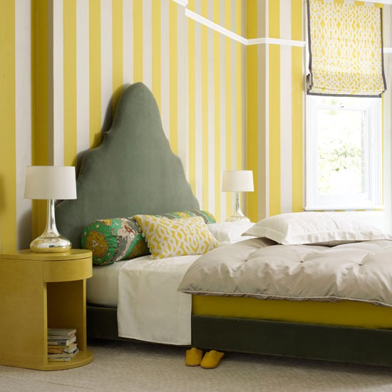 Bedroom with wallpaper 2017 grasscloth wallpaper for Striped wallpaper bedroom designs