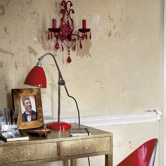 Red And Gold Home Office Home Office Design Ideas
