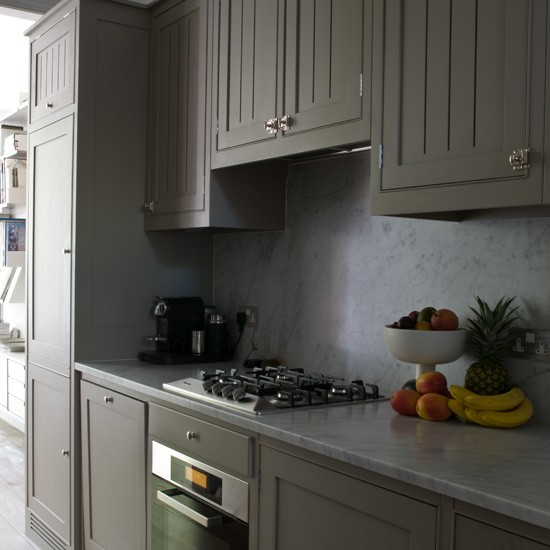 Grey Kitchen Cabinets With Marble Worktops