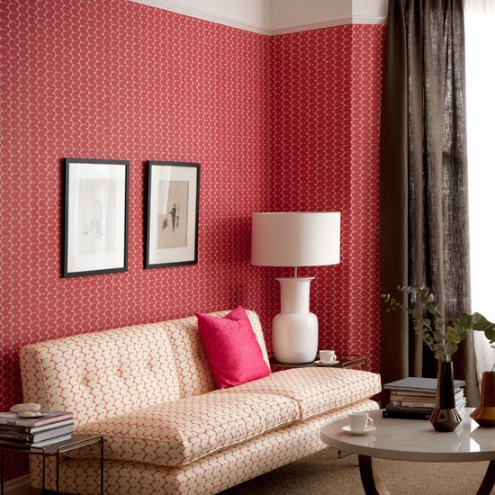 Red patterned living room - image - housetohome.co.uk
