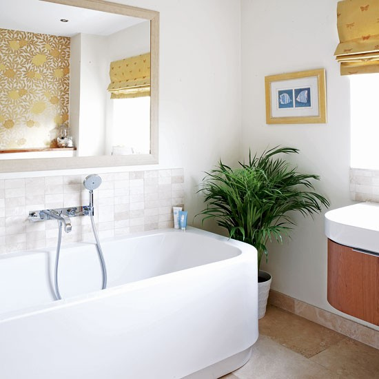 Gold And White Bathroom
