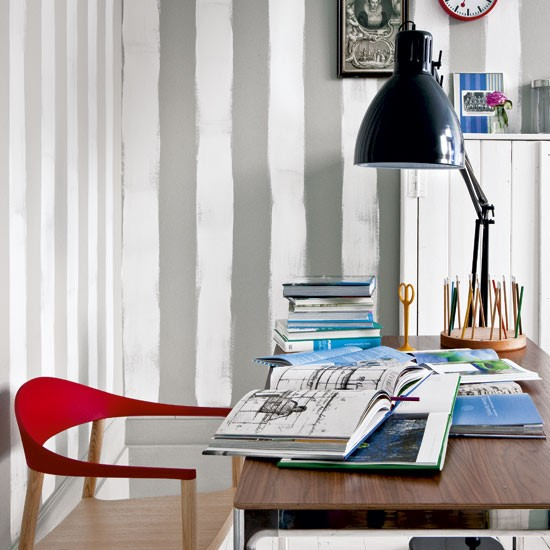 Striped home office | Decorating ideas | Image | Housetohom
