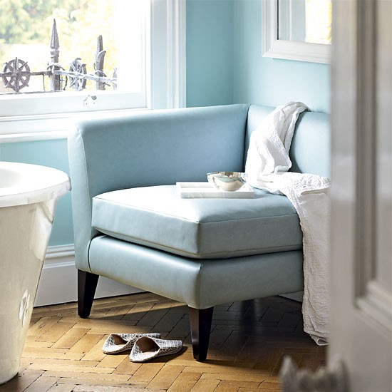 chair in bathroom. to maximize space, use a corner chair. chair in bathroom
