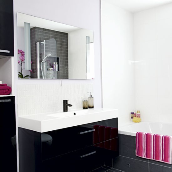 Black and white bathroom bathrooms design ideas for Bathroom design ideas black and white