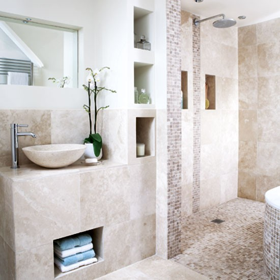 Neutral tiled bathroom bathrooms design ideas image for Neutral bathroom ideas