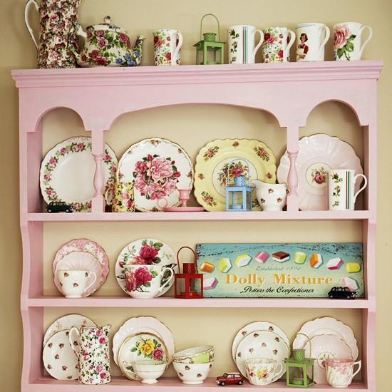 Vintage kitchen with pink display dresser
