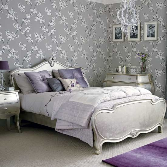 Glamorous silver bedroom hotel style bedrooms 10 of for Black and grey bedroom wallpaper