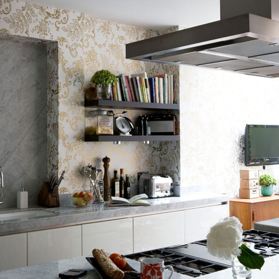 Metalic wallpaper kitchen wallpaper kitchen design for Kitchen wallpaper uk