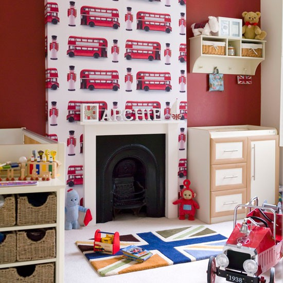 Boys 39 bedroom with soldier print wallpaper boys bedroom for Bedroom designs london