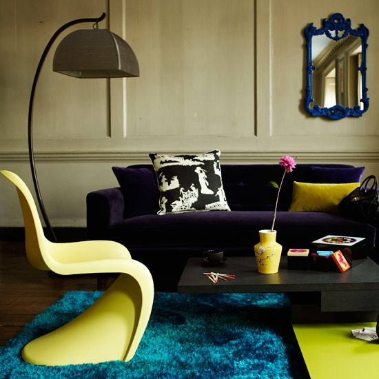 Contemporary living room with lime green accents | Modern living rooms | Contemporary living rooms | PHOTO GALLERY | Housetohome.co.uk
