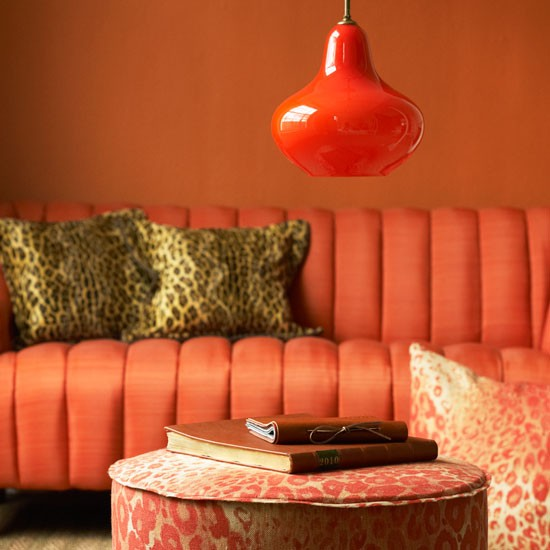 Orange living room | Living rooms | Paint colours | Animal prints