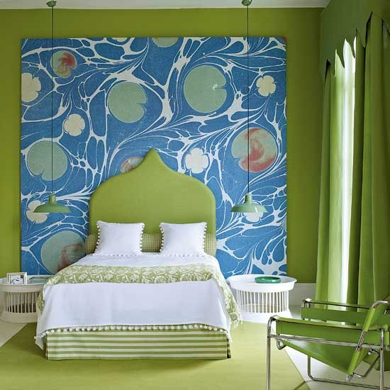 Bedroom Blue Feature Wall Bedroom Decorating Ideas With Lights Modern 3 Bedroom Apartment Bedroom Paint Ideas Green: Abstract Bedroom With Feature Wall