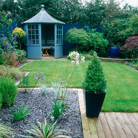 Garden ideas garden furniture garden summer house for Garden designs with summer house