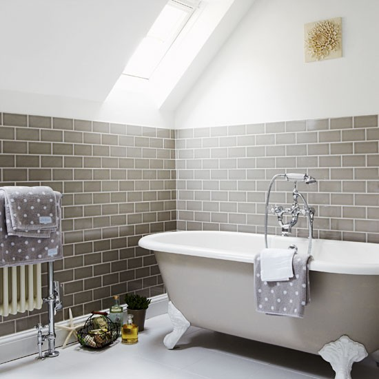 Fired earth bathroom furniture - Flat Light Grey Metro Tiles The Squirrel S Drey