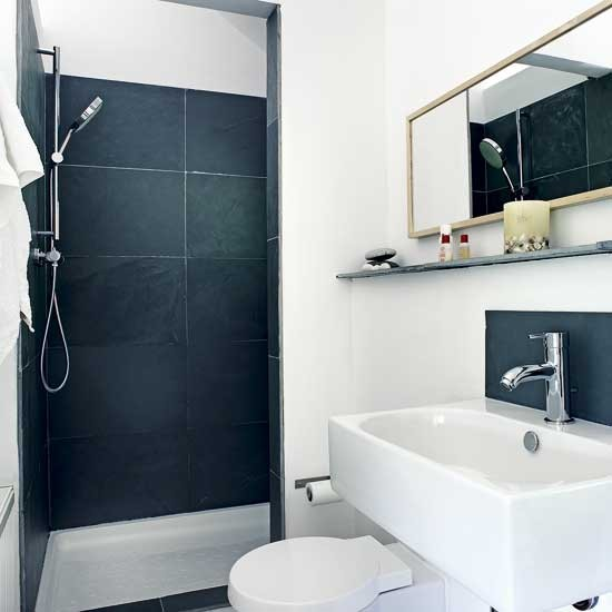Small monochrom shower room | Small bathroom design ideas | Bathroom decorating ideas | Bathroom storage | PHOTO GALLERY | Housetohome