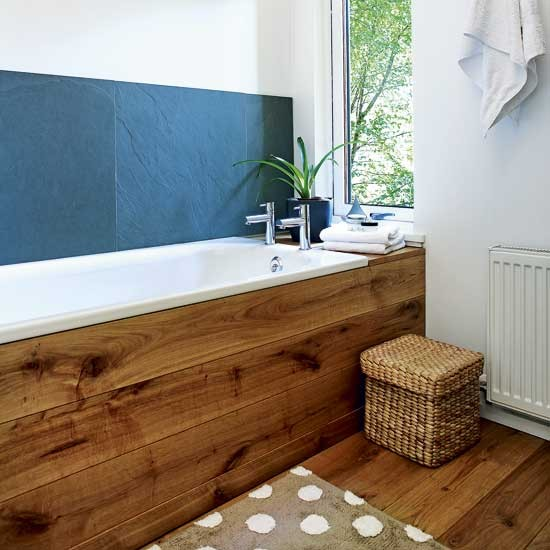 Natural bathroom bathroom designs baths housetohome for Wood panelling bathroom ideas