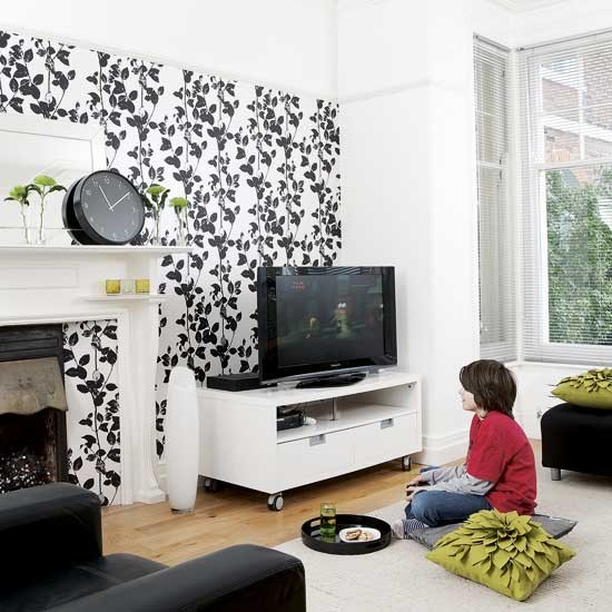 Black And White Living Room With Yellow Accents: Black And White Living Room