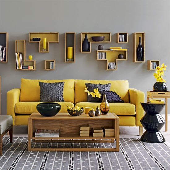 Yellow and grey living room  Contemporary living rooms ...