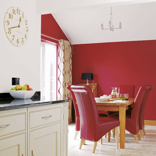 Red open plan dining room dining room designs open for Red dining room designs