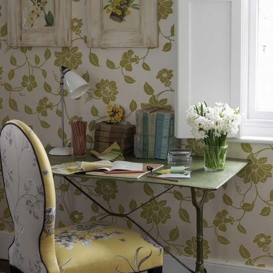 Floral wallpaper home office | Country-style home offices | home office | country-style decorating | image | housetohome.co.uk