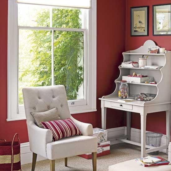 Vibrant red walls home office | Country-style home offices | home office | country-style decorating | image | housetohome.co.uk