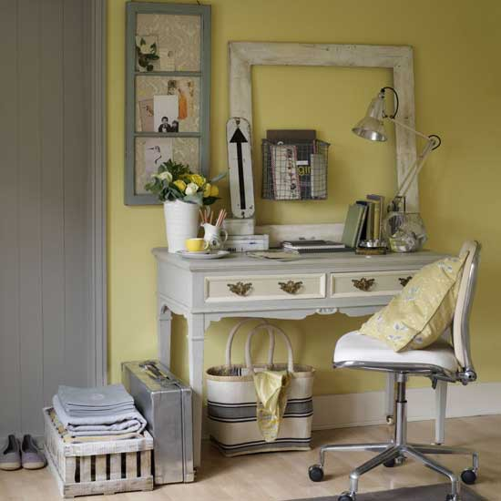 Yellow country-style home office | Country-style home offices | home office | country-style decorating | image | housetohome.co.uk