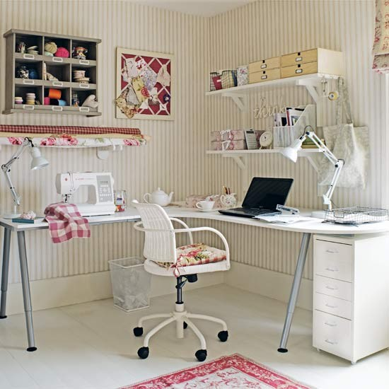 Craft area and work area dual-purpose home office | Country-style home offices | home office | country-style decorating | image | housetohome.co.uk