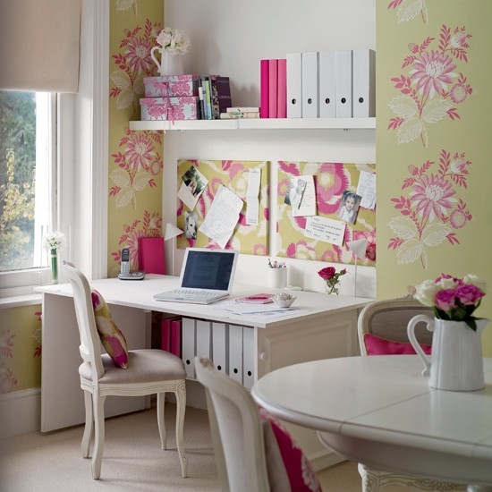 Wallpapered alcoves home office | Country-style home offices | home office | country-style decorating | image | housetohome.co.uk