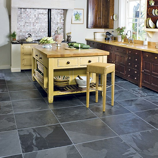 Kitchen bathroom bedroom living room and garden design for Dark tile kitchen floor
