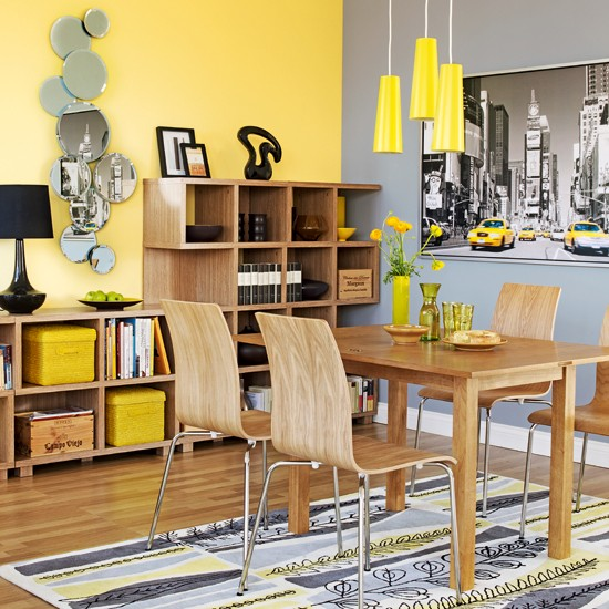 Colourful dining room storage